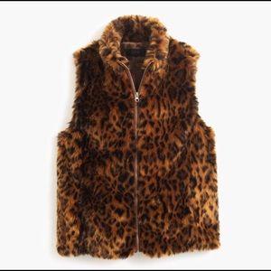 🐆J.Crew Leopard Print Faux Fur Vest
